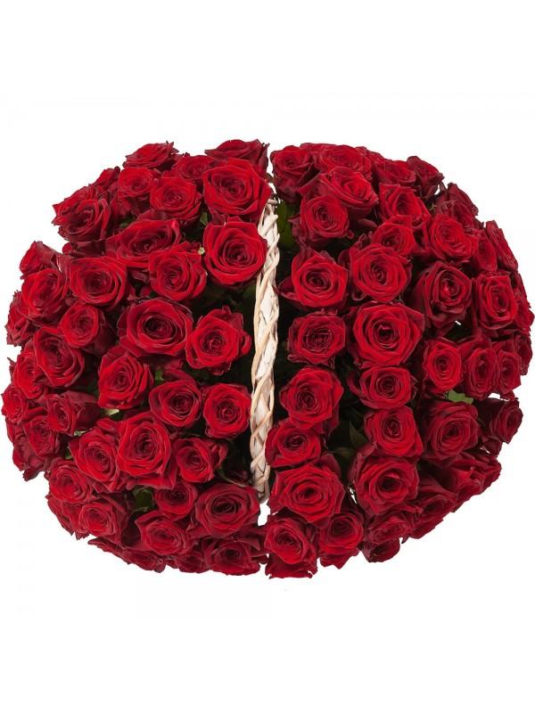Поръчай Кошница 101 Червени Рози - безплатна доставка в София и Пловдив