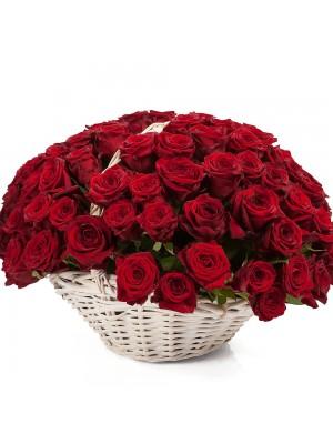 Кошница 101 Червени Рози