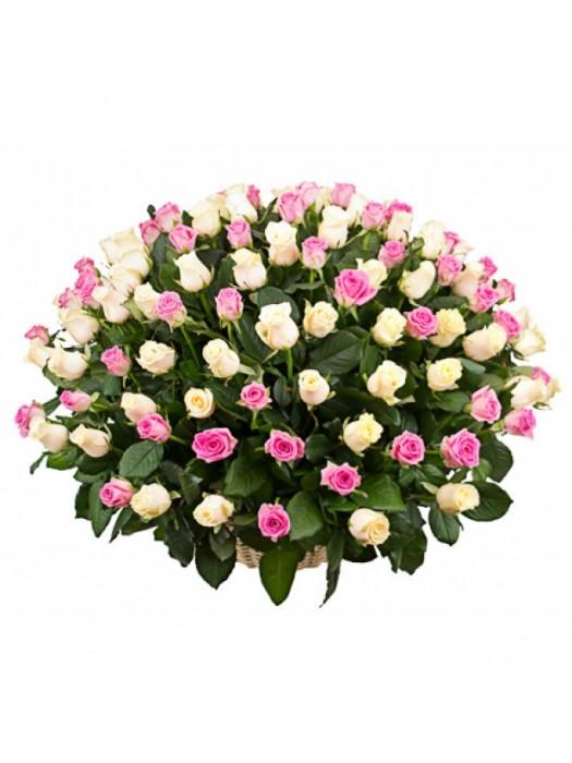 Поръчай Кошница 101 Бели и Розови Рози - безплатна доставка в София и Пловдив