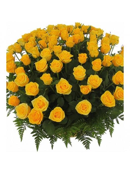 Поръчай Кошница 101 Жълти Рози - безплатна доставка в София и Пловдив