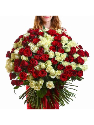 201 White and Roses Bouquet