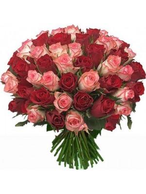 Букет от 51 Червени и Розови Рози