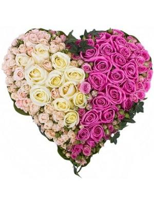 Сърце от 101 Бели и Розови Рози - 2