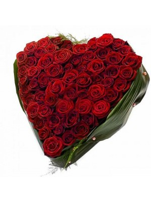 Сърце от 51 Червени Рози