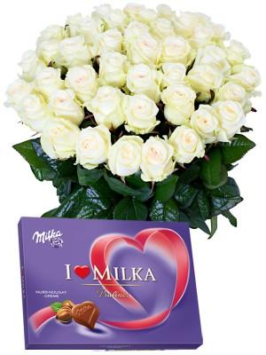 Букет от Бели рози и Милка