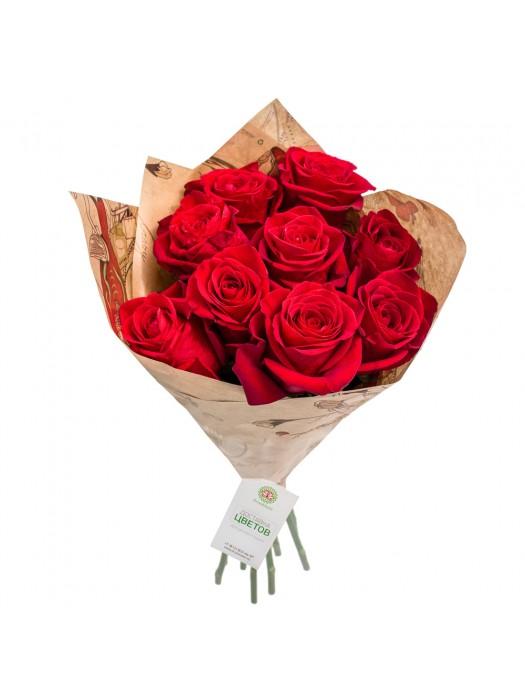 Букет от 9 Червени Рози на невероятната цена от 32.99 -  доставка в София и Пловдив