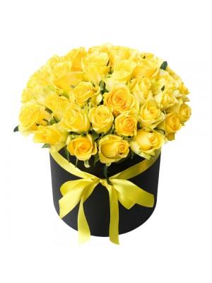 Жълти рози в кутия