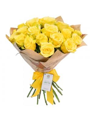 Букет от Жълти Рози с опаковка