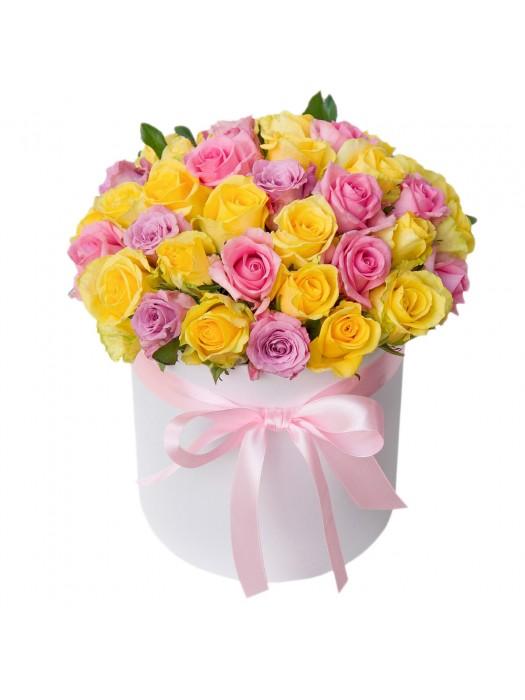 Пъстроцветни  рози в Бяла кутия