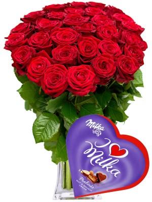 Букет от Червени рози и Милка