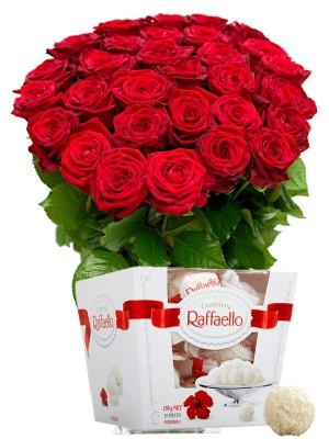 Букет от Червени рози и Рафаело