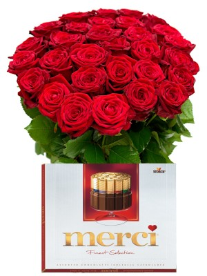Букет от Червени рози и Merci