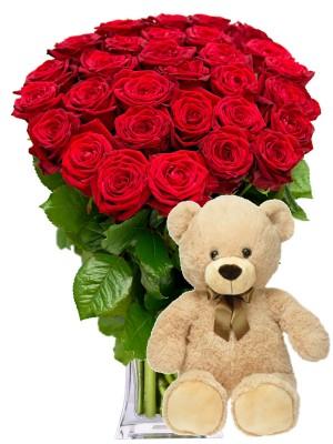 Букет от Червени рози и Плюшено мече
