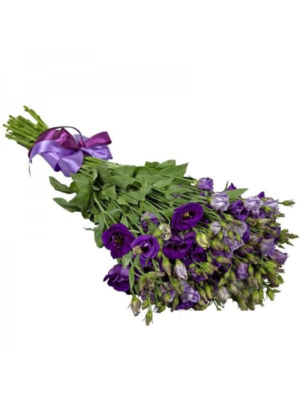 Букет от сини и виолетови еустоми на невероятната цена от 29.99 лв.