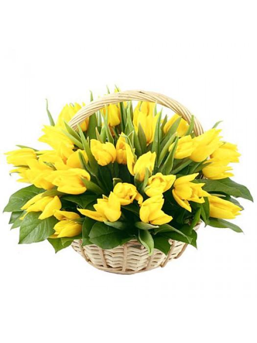 кошница от 51 жълти лалета