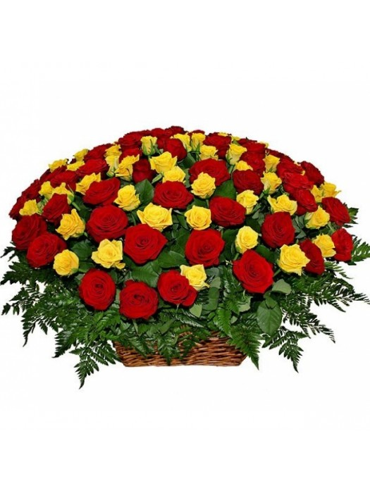 Поръчай Кошница 101 Жълти и Червени Рози - безплатна доставка в София и Пловдив