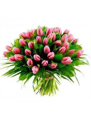 Букет от 51 розови лалета